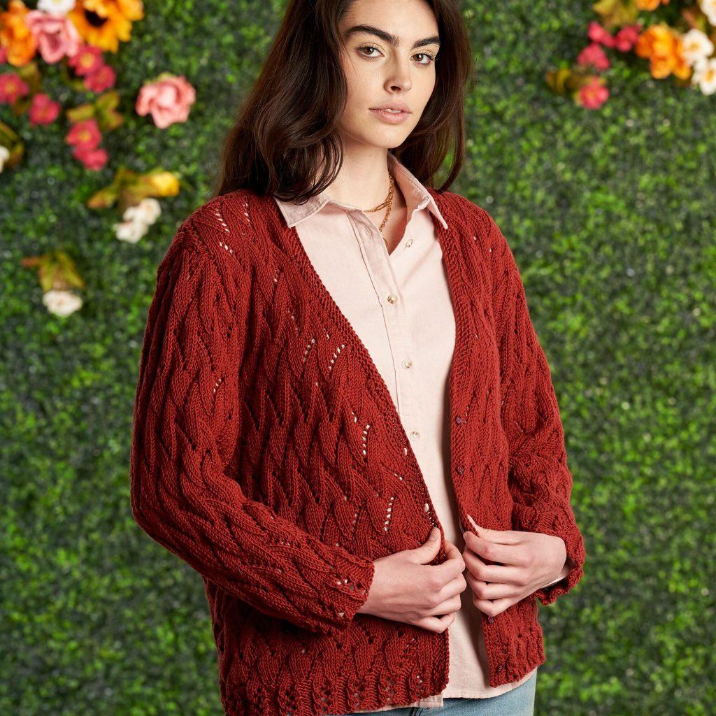 Free Knitting Pattern for a Bernat Knit Lacy Short Cardigan