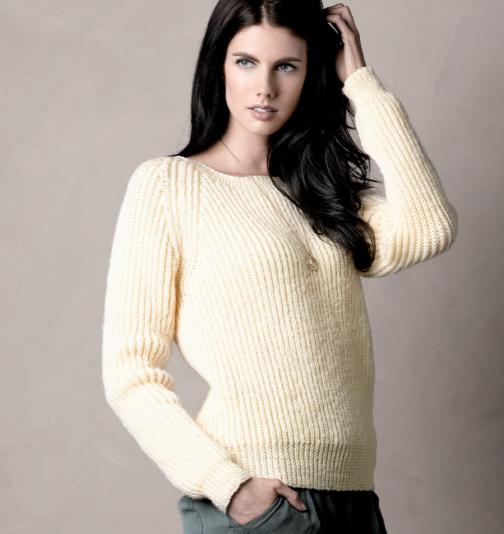 free knit pattern fisherman's rib jumper for women