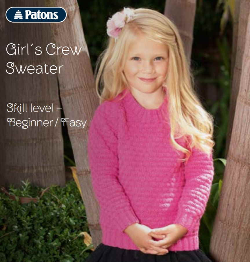 Free Patons sweater knitting pattern for girls easy