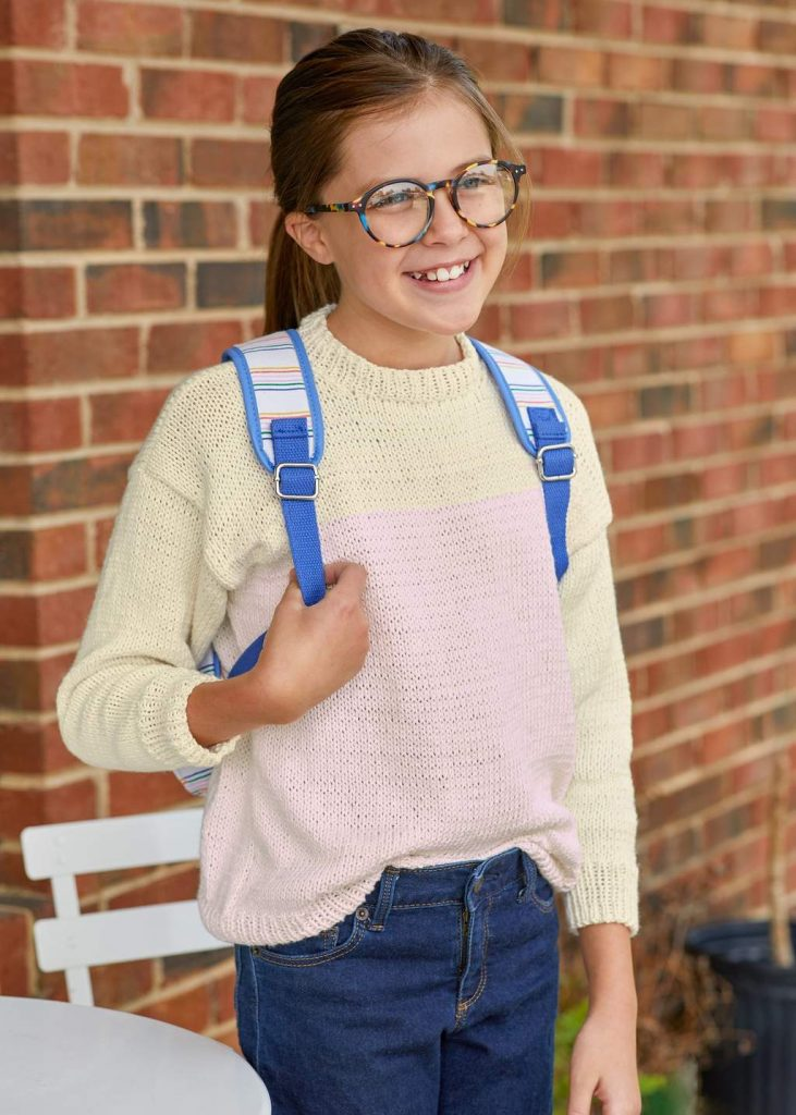 Free colorblock sweater knitting pattern for girls
