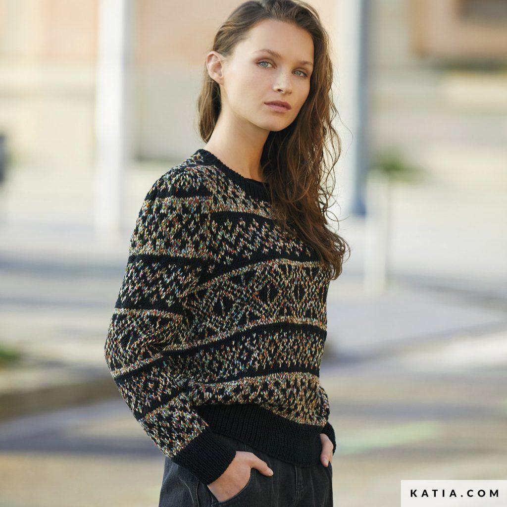 Free Knitting Pattern for a Women's Jacquard Design Jumper