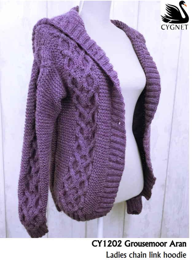 Aran hoodie free knitting pattern
