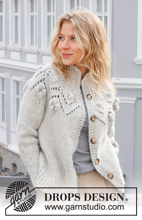 Free Knitting Patterns Ladies Jackets with lace and bobbles