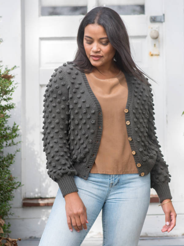 Free knitting pattern for a bobbled cardigan