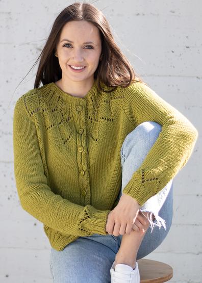 Free knitting pattern for a lace yoke cardigan