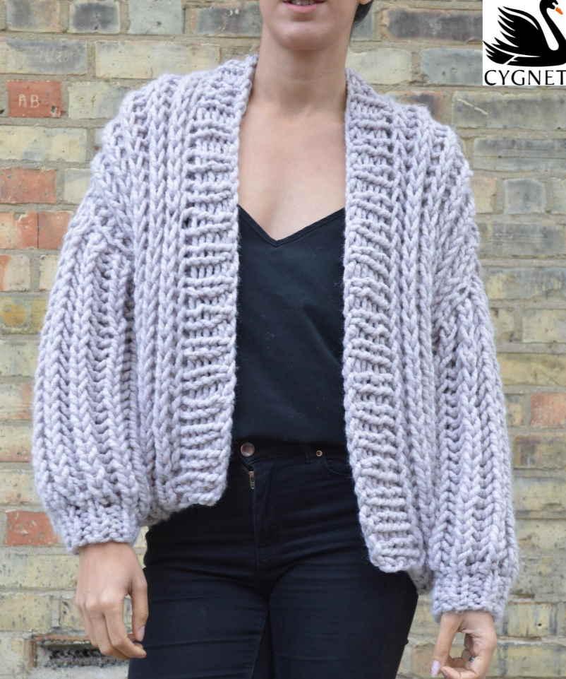 Free knitting pattern for a modern chunky cardigan