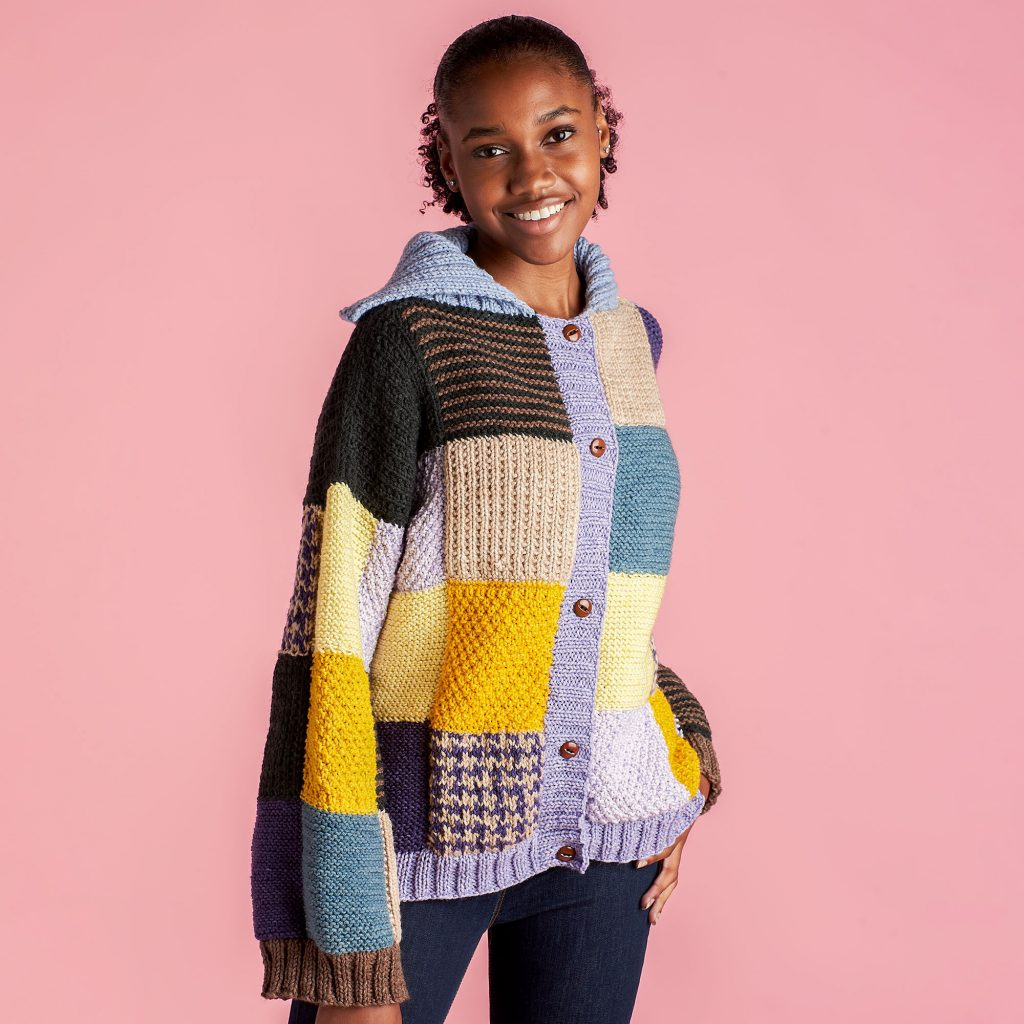 Free knitting pattern for a patchwork cardigan